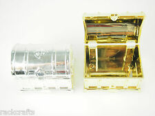 Treasure Chest PartyFavor Plastic Gold Silver Wedding Baby Shower Candy Box Gift