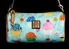 DOONEY & BOURKE Small Cupcake Print Barrel Bag Blue & Multi PVC w/ Leather Trim
