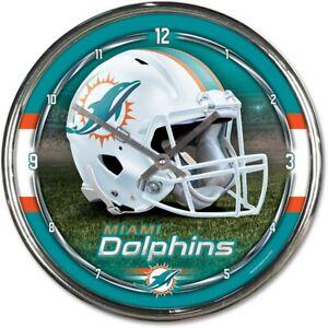 NFL Miami Dolphins Wall Clock Chrome Watch Football