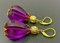 Vintage Purple Lucite Rhinestone Gold tone Dangling Drop pierced Earrings