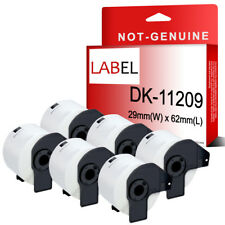 6x DK11209 Compatibl for Brother P-touch 29x 62mm 800 Address Labels Black/White