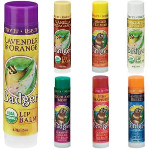Badger Classic Organic Lip Balm Sticks 4.2g -Moisturise Dry Chapped Cracked Lips