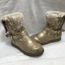 G by Guess Winter Cold Weather Boots Side Zip Fur Gold Faux Suede 7 M