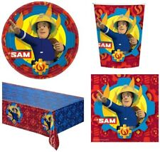 Fireman Sam Kids Party Tableware Bundle For 8 - Cups Napkins Tablecover Plates