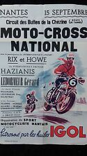 ancienne affiche MOTO CROSS NATIONNAL J.HAZIANIS NANTE 1950 ,garage,métal,BSA