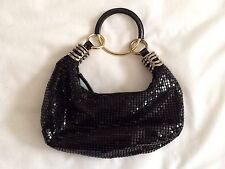EXPRESS Black Sequin & Metal Link Clutch Handbag Purse EUC