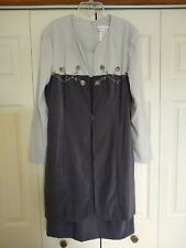 MISS DORBY Gray Polyester Embroidered Long Sleeve Knee Length Dress, size 12