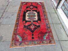 Vintage Hand Made Traditional Rug Oriental Wool Red Blue Large Rug 224x120cm