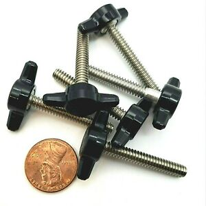 #10-24 Clamping Thumb Screws with Black T Knob Multiple Sizes Stainless