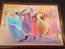 L. Ross Signed Tile On Wood Trinket Box Alvin Ailey Style Dancers
