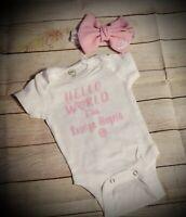 Baby Girl Personalized hospital Going Home headband Newborn Preemie Hello World