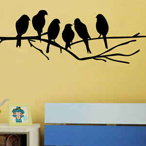 Black Birds on the Tree Branch Wall Vinyl Sticker for Living Room Wall Decals