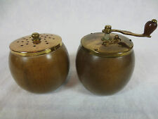 "Vintage SALT & PEPPER SHAKERS  Mini WOODEN JAPAN ~Pepper is small Grinder ~2.25"""
