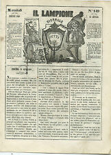 Giornale Il Lampione Lorenzini Collodi Giovanni Prati Abbandona la Toscana 1849