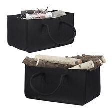 2x Kaminholztasche aus Filz, Brennholz Tragetasche, Filzkorb flexibel, schwarz