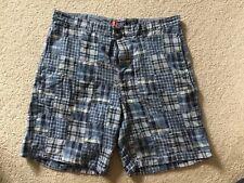 EUC! Chaps Size 38 Men's Blue Plaid Flat Front Cotton Casual Bermuda Shorts NICE