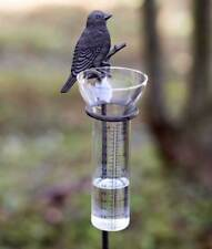 Decorative Rustic Weathered Gray Song Bird 5 inch Glass Rain Gauge Garden Stake