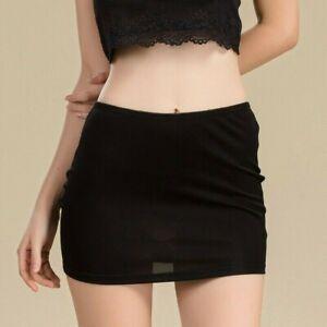 UK Women Slik Skirt Petticoat Trim Half Slip Underskirt Mini Bodycon Safety SR