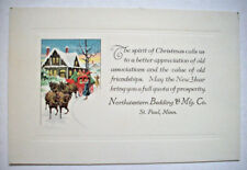 30's? Northwestern Bedding & Mfg Co St. Paul MN Minnesota Christmas card 1F*