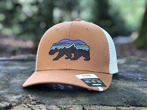 "Patagonia Trucker Hat ""Fitz Roy Bear""  Earthworm Brown - Mid Crown"