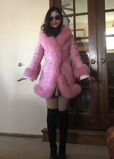 Rare Pink Soft Sheep Skin Leather and Pink Fox Fur Rim Down Jacket Coat
