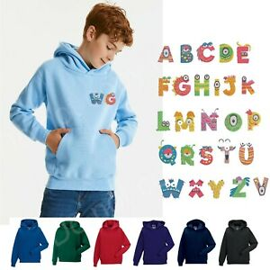 Personalised Kid's Embroidered Alphabet Monsters Letters Hoodie your Initials