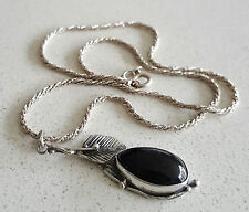 Vintage ITALIAN Silver*ONYX*PENDANT*FLORAL*LEAF*DESIGN*+*ROPE STYLE CHAIN* 41cm
