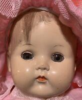 "17"" Ideal Hard Plastic Head & Limbs Cloth Body Baby Doll Marked PB-25"