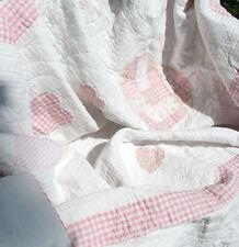 Tagesdecke HERZCHEN 260x300 Rosa Weiß SHABBY Quilt Patchwork Plaid Landhausstil