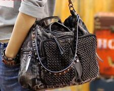 Stylish womens punk rock  motorcycle rivet travel handbag Shoulder Bag messenger