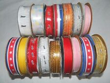 "Lot 16 Spools 1/8"" 5/8"" 1/4"" OFFRAY RIBBON Assorted Colors Over 50 Yards"