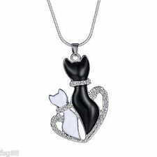 Black White Enamel Cat Heart Crystal Rhinestone Silver Tone Pendant Necklace