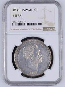 Spectacular 1883 Kingdom of Hawaii Silver Dollar $1 NGC Certified/Graded AU55