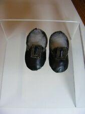 Atq Dark Chocolate/Black Leather European Style Doll Shoes W/Cut Steel Buckles
