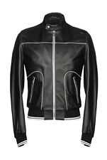 Dolce & Gabbana Leather Jacket SIZe 52 Giacca in pelle Bomber/Biker