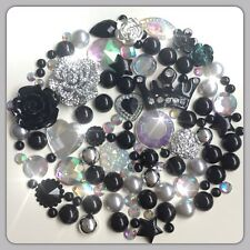 Crown Theme Black Silver & Aurora Borealis Cabochons Gems Pearls flatbacks #2