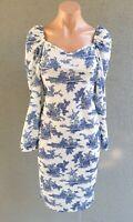 💜 BNWT BOOHOO Long Sleeve Midi Dress Blue White Size 12 Buy7=FreePost L825