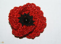 HANDMADE CROCHET SPARKLY RED 4 LEAVES POPPY REMEMBRANCE DAY BROOCH