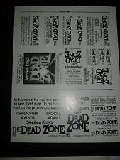 """DEAD ZONE, orig uncut 6"""", 8"""", 9"""" ads & a slug sheet [Stephen King, Chris Walken]"""