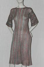 robe droite longue t 38 vert blanc rouge maille pur vintage dress retro gona