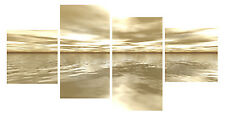 """20"""" X 40""""+ Long 4 Panel Lounge Wall Art Canvas Pictures Still Water Sea Prints"""