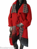 Gr.XL  Mantel Wintermantel Wollmantel Jacke Wolljacke Walkwolle Rot Italien