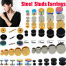 1Pair Stainless Steel Fake Ear Plug Stud Stretcher Tunnel Cheater Body Jewellery