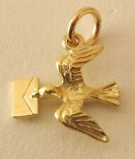 SOLID  9ct YELLOW GOLD 3D DOVE BIRD with LETTER MESSENGER Charm/Pendant