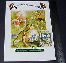 CARTE POSTALE 1er JOUR PHILATELIE 1995 FABLES DE LA FONTAINE GRENOUILLE BOEUF