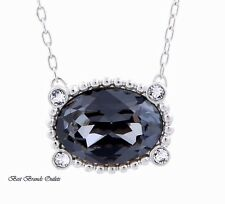 SWAROVSKI - Swan Signed Rosette Mini Dark Crystal Necklace # 5007811 - NIB!