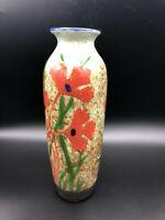 "Vintage Hand Painted Flower Porcelain Vase, 10 1/8"" Tall, 3 1/2"" Widest"
