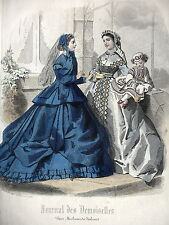 GRAVURE ANCIENNE MODE 19e - JOURNAL DES DEMOISELLES - NOVEMBRE 1865