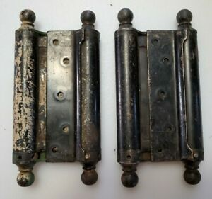 8 Inch Vintage Antique Door Hinges Double Cylinder Spring Loaded Ball Finials
