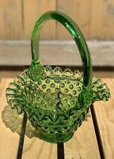 Vintage Fenton Springtime Green Hobnail Ruffled Edge Brides Basket